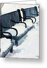 Winter Benches Greeting Card by Tom Riggs
