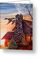 Winter Cabin Greeting Card by Carmen Del Valle