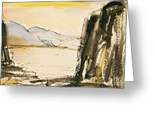 Winter Cliff Greeting Card by Becky Kim