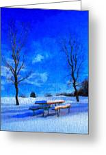 Winter Day On Canvas Greeting Card by Dan Sproul