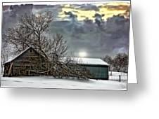 Winter Farm Polaroid Transfer Greeting Card by Steve Harrington
