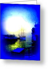 Winter Harbour Greeting Card by Hilde Widerberg