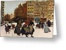 Winter In Amsterdam Greeting Card by Georg Hendrik Breitner