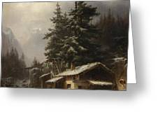 Winter Landscape With Figures Resting Near A Water Mill Greeting Card by Heinrich Hofer