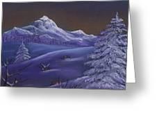 Winter Night Greeting Card by Anastasiya Malakhova