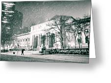 Winter Night in New York City - Snow Falls onto 5th Avenue Greeting Card by Vivienne Gucwa