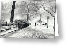 Winter Night - Snow - Madison Square Park - New York City Greeting Card by Vivienne Gucwa
