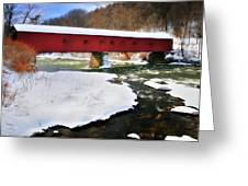 Winter Scene-west Cornwall Covered Bridge Greeting Card by Thomas Schoeller