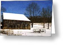 Winter Scenic Farm Greeting Card by Christina Rollo