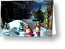 Winter Skaters Greeting Card by Judyann Matthews