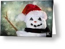 Winter Snowman Greeting Card by Cindy Singleton
