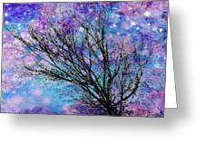 Winter Starry Night Square Greeting Card by Ann Powell