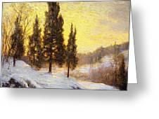 Winter Sundown Greeting Card by Walter Launt Palmer