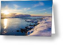 Winter Sunset In Iceland Greeting Card by Peta Thames