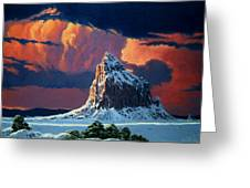 Winter Sunset Over Shiprock Greeting Card by Randy Follis