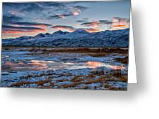 Winter Sunset Reflection Greeting Card by Cat Connor