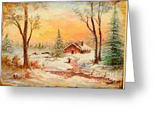 Winter Sunset Greeting Card by Sorin Apostolescu