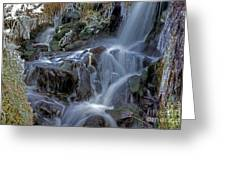 Winter Waterfall In Goyt Valley Greeting Card by David Birchall