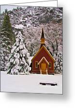 Winter Yosemite Chapel Greeting Card by Heidi Smith