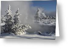 Winter's Glory - Yellowstone National Park Greeting Card by Sandra Bronstein