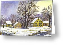 Wintertime In The Country Greeting Card by Carol Wisniewski