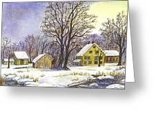 Wintertime In The Country Greeting Card by Carol Wisniewski
