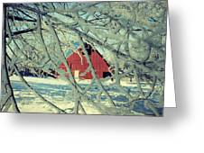 Wintery Red Barn Greeting Card by Julie Hamilton
