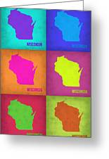 Wisconsin Pop Art Map 2 Greeting Card by Naxart Studio