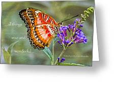 Wise And Wonderful Greeting Card by Karen Stephenson