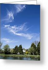 Wispy Clouds Above The River Cam Greeting Card by Keith Douglas