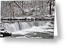 Wissahickon Waterfall In Winter Greeting Card by Bill Cannon