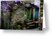 Wisteria On Stone House Greeting Card by Lainie Wrightson