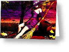 Witch in the Punkin Patch Greeting Card by Bob Orsillo