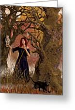 Witch Of The Autumn Forest  Greeting Card by Daniel Eskridge
