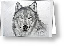 Wolf Greeting Card by Julie Brugh Riffey