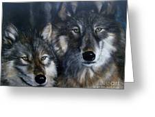 Wolves Greeting Card by Julie Bond