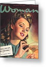 Woman 1945 1940s Uk People Eating Greeting Card by The Advertising Archives