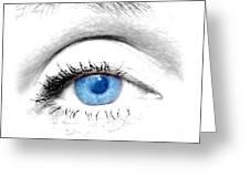 Woman blue eye Greeting Card by Michal Bednarek