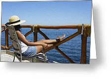 Woman Enjoying The View  Greeting Card by Aged Pixel