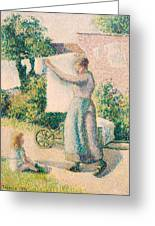 Woman Hanging Laundry Greeting Card by Camille Pissarro