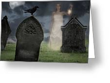 Woman Haunting Cemetery Greeting Card by Amanda And Christopher Elwell