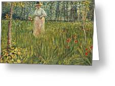 Woman In A Garden Greeting Card by Vincent van Gogh