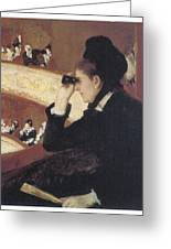 Woman In Black At The Opera Greeting Card by Mary Cassatt
