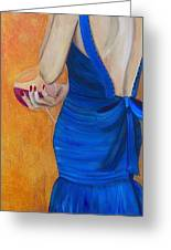 Woman In Blue Greeting Card by Debi Starr