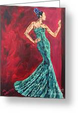 Woman In The Green Gown Greeting Card by Lee Ann Newsom
