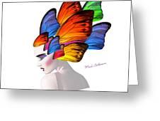 Woman Portrait Butterfly  Greeting Card by Mark Ashkenazi