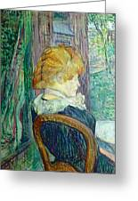 Woman Sitting In A Garden Greeting Card by Henri de Toulouse-lautrec