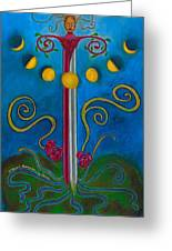 Woman Transforming Sword Greeting Card by Annette Wagner
