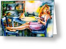 Woman Waiting No 2 Greeting Card by Trudi Doyle