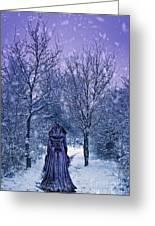 Woman Walking In Snow Greeting Card by Amanda And Christopher Elwell